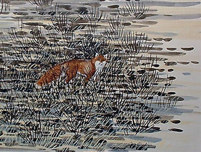 Jan Rhodin water colour fox